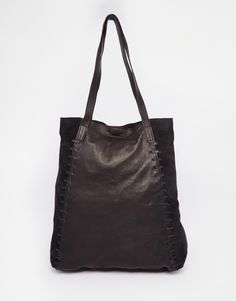 ASOS+Leather+Shopper+With+Whipstitch+Detail