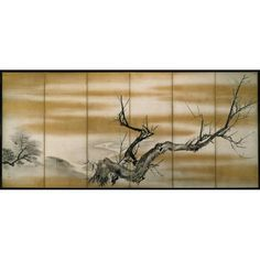 Pine, bamboo and plum, one of a pair 円山応挙筆 松竹梅図屏風 六曲一双 紙本墨画 江戸時代 Artist: Maruyama Ōkyo (Japanese, 1733 - 1795) Date: approx. 1700-1800 Historical Period: Edo period (1615-1868) Object Name: Six panel folding screen Materials: Ink and gold on paper