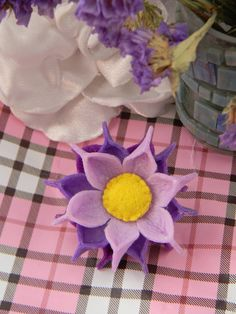 Lilac felt flower scrunchy hairpin 2 pieces  set от LoveofDetail