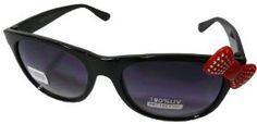 Sanrio Hello Kitty Rhinestone Bow Style Designer Inspired Wayfarer Sunglasses - Black Frame w/ Red Bow by Sanrio. $9.99