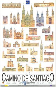 #Cartel o #poster de promocion turística del Camino de Santiago del año 1990 y reimpreso en el año 2004 #CaminodeSantiago #Turismo #Spian #Santiago #Galicia #viajar #travel