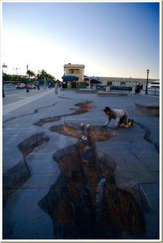 """""""Holes on San Francisco pavement""""  Author Julian Beever"""