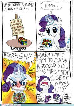 Rarity solves the Rubik's cube like a lady
