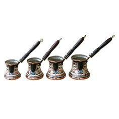 Set of 4 Decorated Turkish Coffee Makers