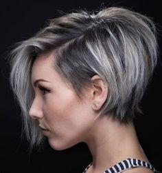 Silver hair reverse Bob haircut