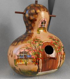 Brown Cottage Hand Painted Gourd Bird House by HouseOfGourds on Etsy