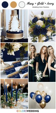 Navy Blue + Ivory + Gold Wedding: navy blue bridesmaid dresses holding ivory bouquets, white wedding cakes with gold decorations, navy and gold name cards, ivory table cloth with gold candle holders and navy candles. Navy Blue And Gold Wedding, Gold Wedding Colors, Mauve Wedding, Gold Wedding Theme, Wedding Color Schemes, Wedding Themes, Dream Wedding, Blue Ivory, Navy Spring Wedding