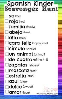 Photography Scavenger Hunt Printable: Spanish Activities for Kindergarten