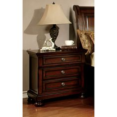 Furniture of America Barelle Cherry 3-Drawer Nightstand with Hidden Power Outlet | Overstock.com Shopping - The Best Deals on Nightstands