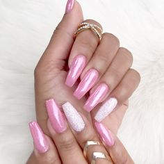 Teeth Nails: Chrome Nails Design And The Newest Manicure . Chrome Nails Designs, Colorful Nail Designs, Cool Nail Designs, Pink Chrome Nails, Pink Nails, Fancy Nails, Chrom Nails, Super Nails, Perfect Nails