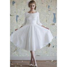 Jewel Tea Length Wedding Dress with Sleeves @Lindsee Ha this is my favorite!!!