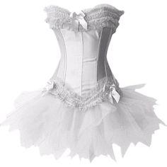 MUKA Burlesque Corset And Petticoat, White Halloween Costume, Gift Idea