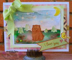 Mountain Bear Love, #lawnfawn, watercolor, #mayartsribbon, moon, forest, camping, trees