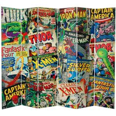 7-foot Comic Book Collection Canvas Room Divider | Overstock.com Shopping - The Best Prices on Decorative Screens
