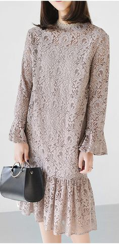 Nude pink lace dress spring long sleeve casual style lace clothing two pieces