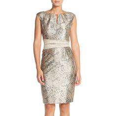 Ellen Tracy Metallic Jacquard Sheath Dress ($128) ❤ liked on Polyvore featuring dresses, gold, petite, leopard dress, white wrap dress, petite wrap dress, polka dot dress and cap sleeve dress