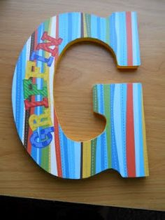 Wood letter, scrapbook paper, and mod podge...you could probably use the cardboard letters that are available also.