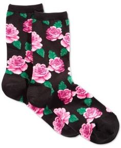 Hot Sox Women's Rose Print Socks - Black