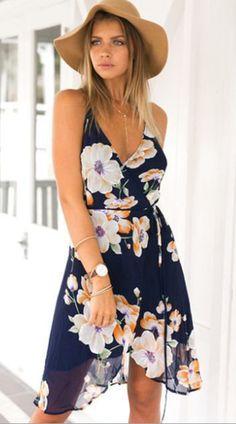 Flowy Navy Floral Wrap Chiffon Dress