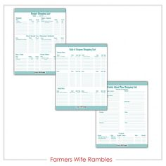Enjoy these Meal Planner, Budget & Coupon Shopping List Free Printables.  Your download will include all there pages and you can print one or print them all as your needs require.  My most used printable is the Weekly Menu Planner List.  This helps me plan my menus along with this Menu Planner Printable and keep organized with what I need to actually purchase.  - Farmer's Wife Rambles
