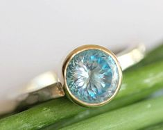 Swiss Blue Topaz Sterling Silver and 14K Gold Ring, Portuguese Cut Ring, Stacking Ring, Gemstone Ring - Custom Made For You