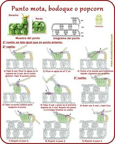 Punto mota, bodoque, popcorn, garbanzo, madroño - Ponto pipoca - Popcorn stitch - вязание крючком пунктов