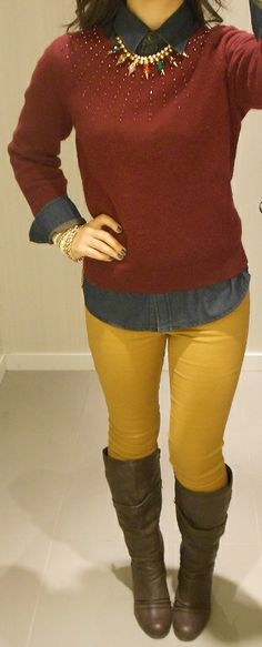 How to Wear Layers: Mustard and Maroon, statement necklace by ruzinscloset.com