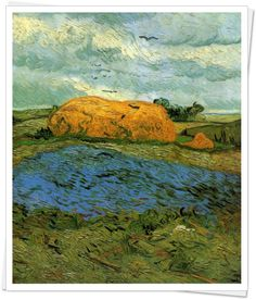 Haystacks under a Rainy Sky - Vincent van Gogh, 1880 Kröller-Müller Museum, Otterlo, Netherlands  http://www.kmm.nl/