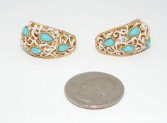 Vintage Trifari faux turquoise & white enamel clip on EARRINGS signed designer