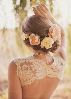 Side-swept Updo Wedding Hairstyle with Flowers