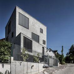 Cubed concrete house by Plusminus Architects  built outside Bratislava