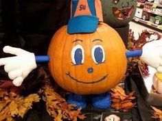 An Otto the Orange Pumpkin! Dang why didn't I think of that! Pumpkin Decorating, Pumpkin Carving, Special Events, Are You Happy, First Birthdays, Halloween Party, Syracuse University, Diy Projects, Baby Shower
