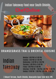 Orangegrass Thai & Oriental Cuisine offers delicious Thai Food in South Shields, Newcastle Upon Tyne Browse takeaway menu and place your order with ChefOnline. Thai Takeaway, Oriental, Menu, Thai Restaurant, Thai Recipes, Newcastle, Japchae, A Table, Kitchens
