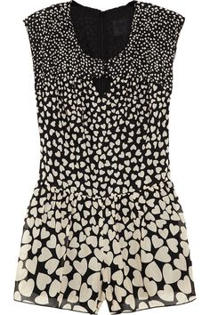 df38c667207 Anna Sui - Heart-print cotton and silk-blend playsuit