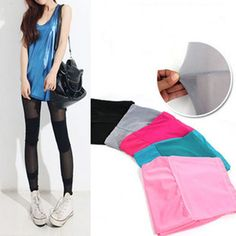 €3.06 Multi Color Punk Funky Sexy Slim Fit Leggings Stretchy Tight Pencil Skinny Pants BLACK (One size) FREE SHIPPING