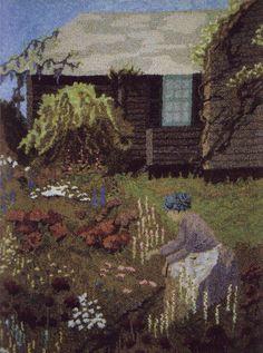 """Kennebunkport Garden"" hand hooked in #3 cut by John Flournoy"
