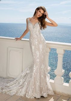 Romance is in the air with this allover lace fit and flare gown accented by delicate dimensional beading. The dress features a chapel length train with hem lace to complete the look.