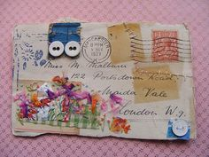 Altered postcard.  Love the staples holding scraps to the paper.  by Hens Teeth on Flickr