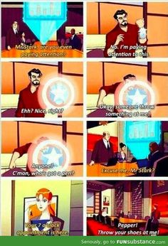 Funny pictures about Tony Stark is at it again. Oh, and cool pics about Tony Stark is at it again. Also, Tony Stark is at it again. Funny Marvel Memes, Marvel Jokes, Dc Memes, Marvel Dc Comics, Avengers Memes, Mcu Marvel, Funny Comics, Tony Stark, Marvel Universe