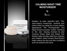 CALMING NIGHT TIME MOISTURIZER by Afmetics Awaken to calm, beautiful skin! This ultra-creamy moisturizer comforts and calms while you sleep for a more radiant appearance. The Pomegranate and Algae Extract provides instant hydration to the skin helping maintain its vital moisture. Grape Seed and Green Tea Extract helps provide relief from redness and irritation, while Tumeric Root Extract helps relieve dry skin and skin conditions such as eczema and acne.