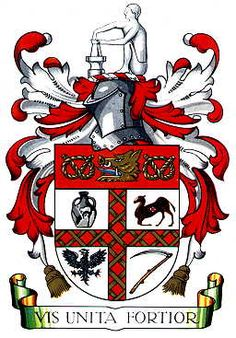 "Stoke-on-Trent coat of arms. The motto ""Vis Unitas Fortior"" (United we are stronger) in recognition of the Federation of the Six Towns of Stoke-on -Trent. Stoke On Trent, Trent Coat, Stoke City Fc, Out Of Africa, Anglo Saxon, Beautiful Islands, Coat Of Arms, Historical Photos, Funny Images"