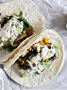 Corn, Mushroom & Roasted Poblano #Tacos recipe #MeatlessMonday
