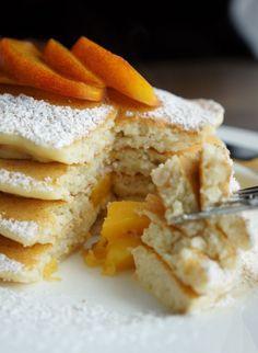 Peach Ricotta Pancakes