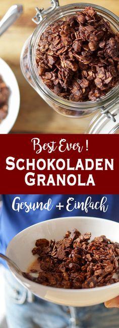 Jetzt wird es schokoladig: Selbstgemachte Schokoladen Granola (Knuspermüsli) ist eine gute Möglichkeit, ein süßes Frühstück mit gesunden Zutaten zu vereinen. Die Kombination aus rohem Kakao, Zartbitter Schokotropfen, ungesüßten Kokosflocken und viele Mandeln und Walnüsse mag wohl jeder. Einfache Gesunde Rezepte - Elle Republuc