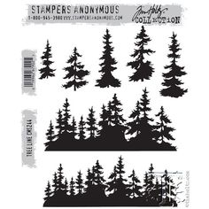 Stamper's Anonymous / Tim Holtz - Cling Mounted Rubber Stamp Set - Tree Line-Cling mounted rubber stamps - on a 7 x storage panel Tree Stencil, Stencils, Galaxia Tattoo, Natur Tattoo Arm, Tim Holtz Stamps, Forest Tattoos, Stampers Anonymous, Scroll Saw Patterns, Cross Patterns