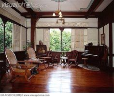Philippine ancestral house (love the big windows, white paint, and hardwood floors) Filipino Interior Design, Home Interior Design, Interior Architecture, Philippine Architecture, Filipino Architecture, Future House, Filipino House, Saint Claude, Hacienda Homes