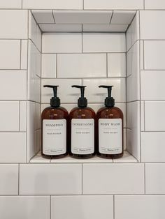 Instantly spruce up your bathroom decor with these shower-safe plastic dispenser bottles. Simply fill the dispenser bottles with your favorite shampoo, conditioner, and body wash for a simple bathroom refresh. Vinyl Labels, Simple Bathroom, Aesthetic Design, Shampoo And Conditioner, Hand Washing, Body Wash, Whiskey Bottle, Farmhouse Decor, Fill