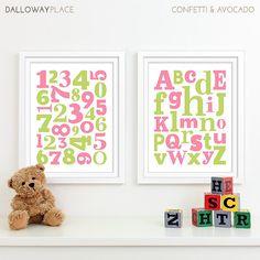 Baby Girl Nursery Art Alphabet Art Nursery Prints by DallowayPlaceKids
