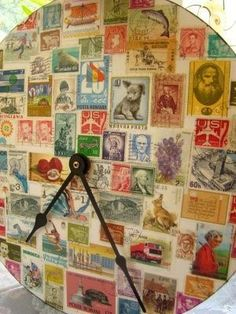 Nice decopage idea might try this with a cheap clock, cover with pretty background and add numbers in different sizes Fun Crafts, Crafts For Kids, Diy Clock, Clock Craft, Old Stamps, Postage Stamp Art, Craft Tutorials, Craft Ideas, Mail Art