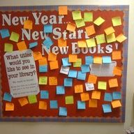 Teen school library bulletin boards | New year, new start, new books display